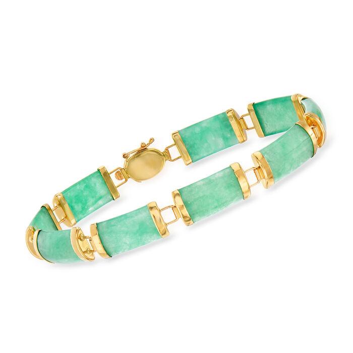 """Green Jade Bracelet in 14kt Yellow Gold. 8.25"""", , default"""
