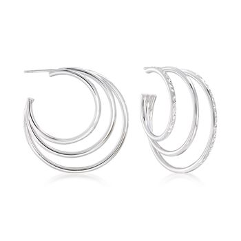 """Sterling Silver Multi-Hoop Earrings. 1 1/4"""", , default"""