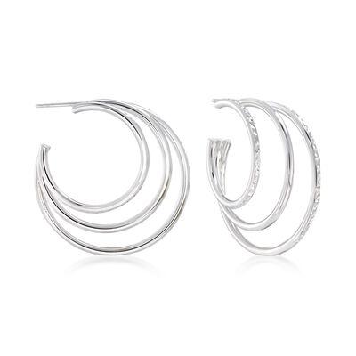 Sterling Silver Multi-Hoop Earrings, , default