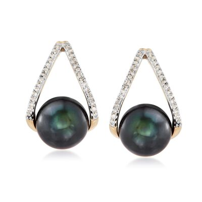8-8.5mm Black Cultured Pearl and .12 ct. t.w. Diamond Double Hoop Earrings in 14kt Gold, , default