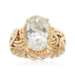 4.80 Carat Green Amethyst Byzantine Ring in 14kt Yellow Gold. Size 9, , default