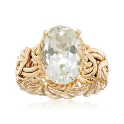 4.80 Carat Green Amethyst Byzantine Ring in 14kt Yellow Gold, , default
