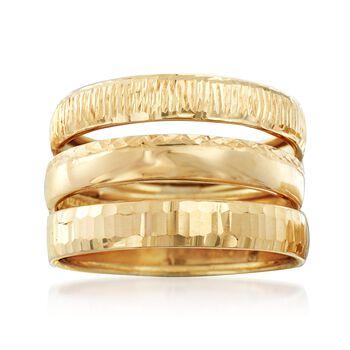 Italian 14kt Yellow Gold Jewelry Set: Three Diamond-Cut Rings, , default