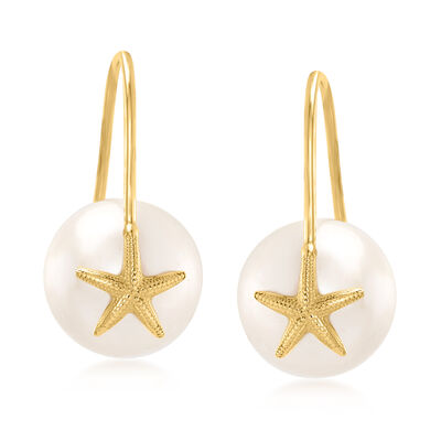 10-10.5mm Cultured Pearl Starfish Drop Earrings in 14kt Yellow Gold