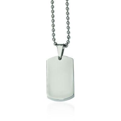 "Men's Stainless Steel Polished Dog Tag Pendant Necklace. 24"", , default"