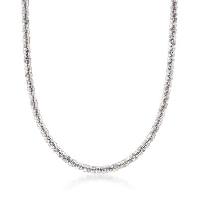 Italian 4mm Sterling Silver Crisscross Chain Necklace, , default