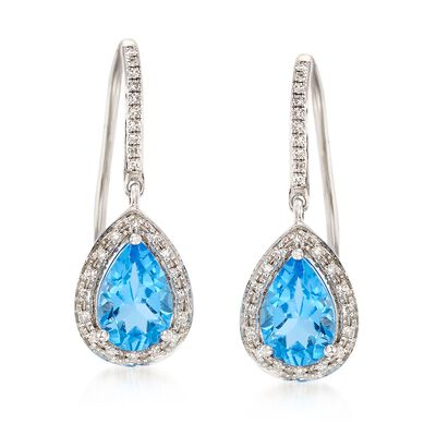 2.55 ct. t.w. Blue Topaz and .20 ct. t.w. Diamond Earrings in 14kt White Gold, , default