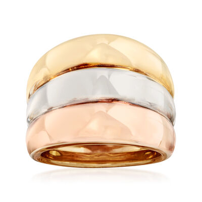 Italian 18kt Tri-Colored Gold Multi-Row Ring, , default