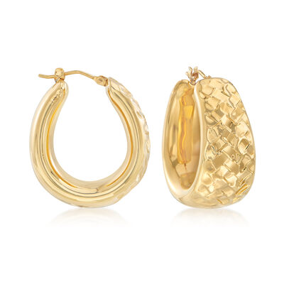 Andiamo 14kt Yellow Gold Textured Hoop Earrings, , default