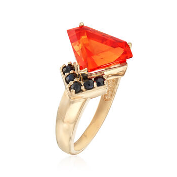 C. 1990 Vintage 7.00 Carat Orange Synthetic Sapphire and .25 ct. t.w. Sapphire Ring in 10kt Yellow Gold. Size 7, , default