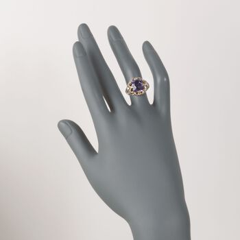 C. 1960 Vintage 3.80 Carat Amethyst Openwork Scroll Ring in 14kt Yellow Gold. Size 5.75, , default