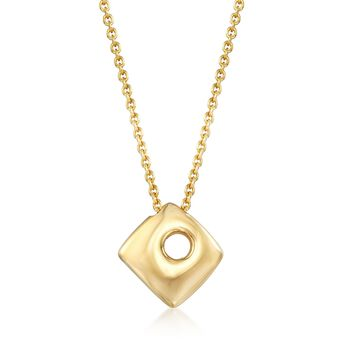 "Italian 18kt Gold Over Sterling Silver Open-Space Square Drop Necklace. 18"", , default"