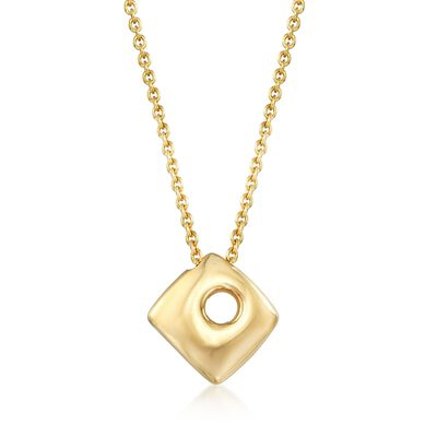 Italian 18kt Gold Over Sterling Silver Open-Space Square Drop Necklace, , default