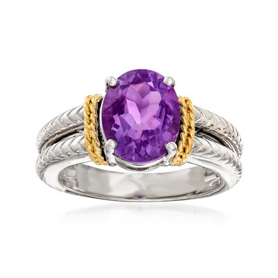 2.60 Carat Amethyst Ring in Sterling Silver and 14kt Yellow Gold