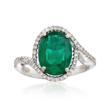 C. 2000 Vintage 2.35 Carat Emerald and .25 ct. t.w. Diamond Ring in 18kt White Gold. Size 5, , default