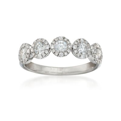 1.07 ct. t.w. Diamond Five-Stone Halo Wedding Ring in 14kt White Gold, , default