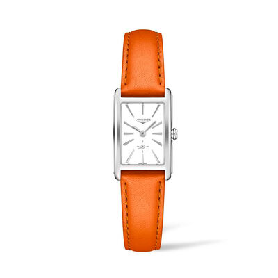 Longines Dolcevita Women's 20x32mm Stainless Steel Watch with Orange Leather