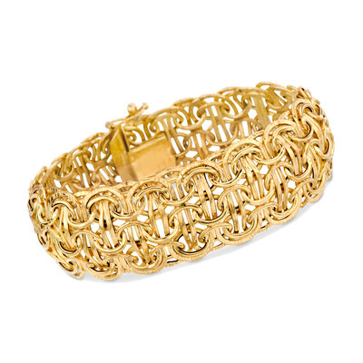 Italian 14kt Yellow Gold Domed Byzantine-Style Bracelet, , default