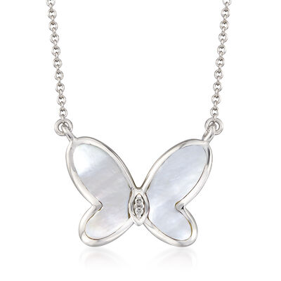 Mother-Of-Pearl Butterfly Necklace with Diamond Accents in Sterling Silver, , default