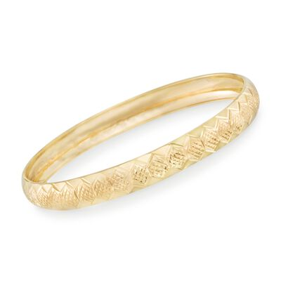 14kt Gold Over Sterling Silver Diamond-Cut Honeycomb Bangle Bracelet, , default