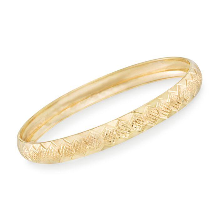 """14kt Gold Over Sterling Silver Diamond-Cut Honeycomb Bangle Bracelet. 7.5"""", , default"""
