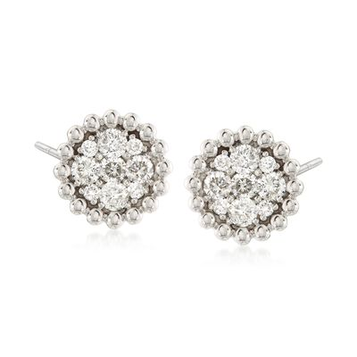 .85 ct. t.w. Diamond Cluster Earrings in 14kt White Gold, , default