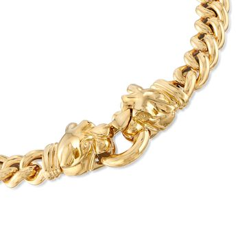 """Italian 18kt Gold Over Sterling Double Panther Head Curb-Link Necklace. 18"""", , default"""