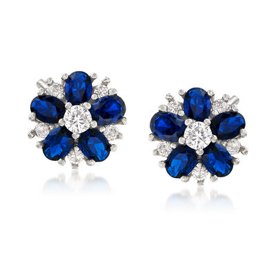 2.50 ct. t.w. Blue Spinel and .40 ct. t.w. CZ Flower Earrings in Sterling Silver, , default