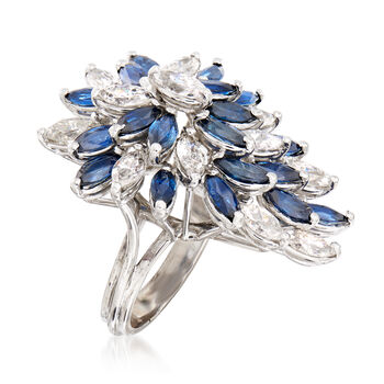 C. 1970 Vintage 4.00 ct. t.w. Sapphire and 3.15 ct. t.w. Diamond Cluster Ring in 18kt White Gold. Size 5