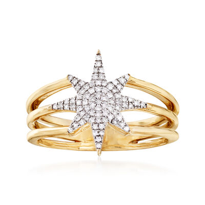 .11 ct. t.w. Diamond Star Ring in 14kt Yellow Gold