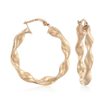 14kt Yellow Gold Wavy Hoop Earrings, , default