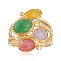 Multicolored Jade and .10 ct. t.w. White Zircon Ring in 18kt Gold Over Sterling, , default
