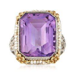 C. 1950 Vintage 10.41 Carat Amethyst Ring With Cultured Seed Pearls in 14kt Two-Tone Gold, , default