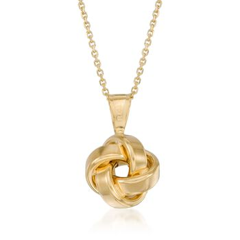 "14kt Yellow Gold Love Knot Pendant Necklace. 18"", , default"