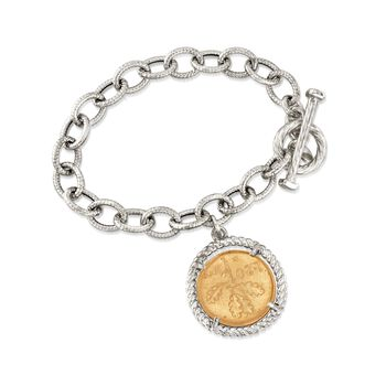 """Italian Two-Tone Sterling Silver Replica Lira Coin and Oval Link Toggle Bracelet. 7"""""""