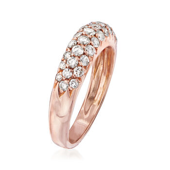 C. 1980 Vintage Van Cleef & Arpels .75 ct. t.w. Diamond Three-Row Ring in 18kt Rose Gold. Size 5.5, , default