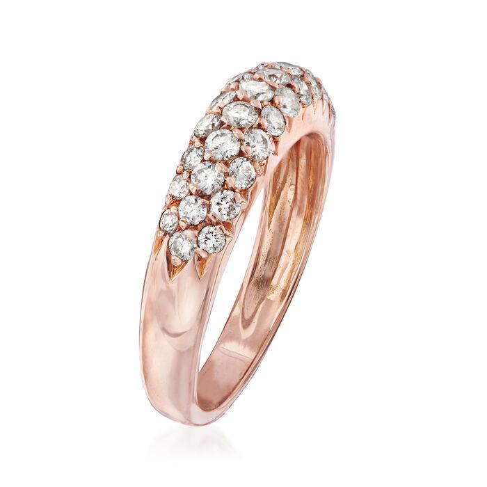C. 1980 Vintage Van Cleef & Arpels .75 ct. t.w. Diamond Three-Row Ring in 18kt Rose Gold