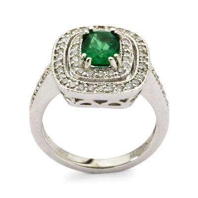 1.20 Carat Emerald and .55 ct. t.w. Diamond Ring in 14kt White Gold