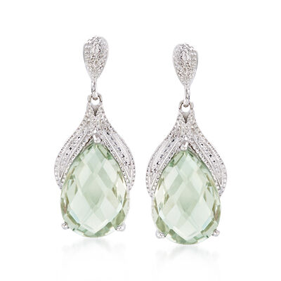 8.25 ct. t.w. Green Prasiolite Drop Earrings in Sterling Silver