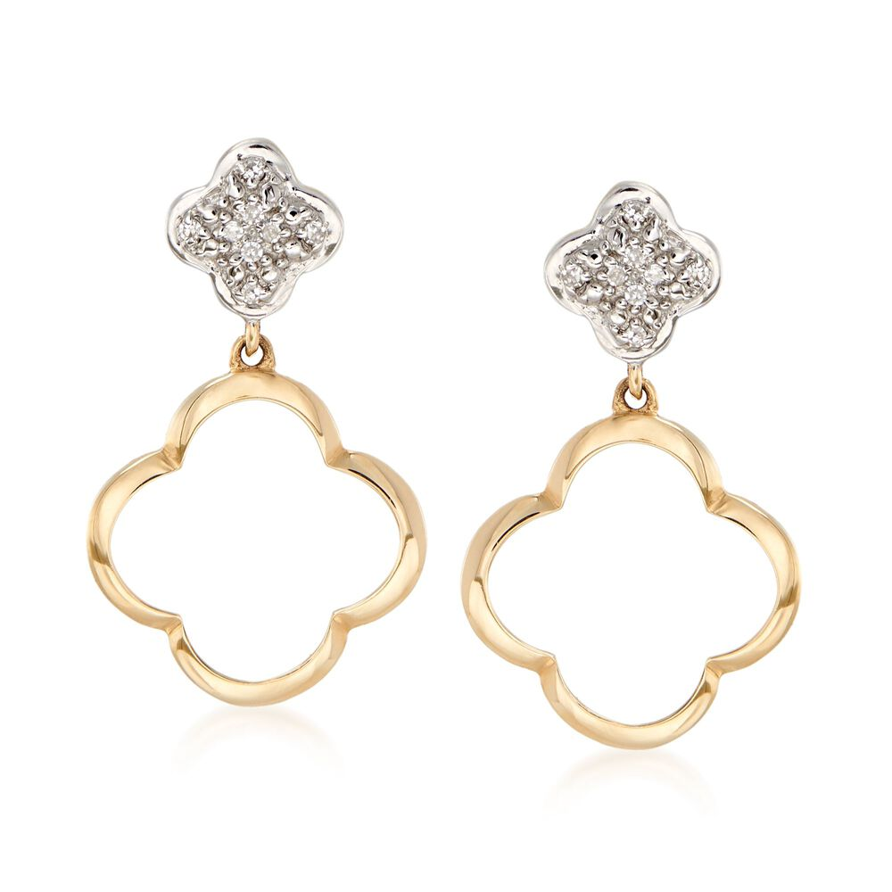 14kt Two Tone Gold Clover Drop Earrings With Diamond Accents Default