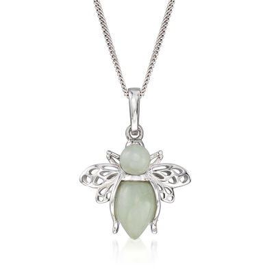 Jade Bumble Bee Pendant Necklace in Sterling Silver
