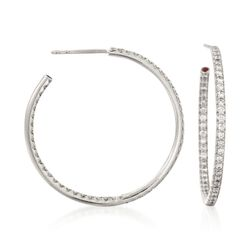 "Roberto Coin .68 ct. t.w. Diamond Inside-Outside Hoop Earrings in 18kt White Gold. 1 1/4"", , default"