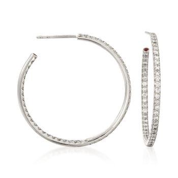 "Roberto Coin .68 ct. t.w. Diamond Inside-Outside Hoop Earrings in 18kt White Gold. 1 1/4"", , default"