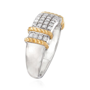 .50 ct. t.w. Pave Diamond Ring in Sterling Silver with 14kt Yellow Gold, , default