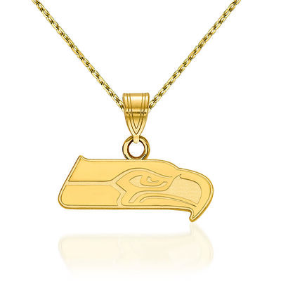 14kt Yellow Gold NFL Seattle Seahawks Pendant Necklace. 18""