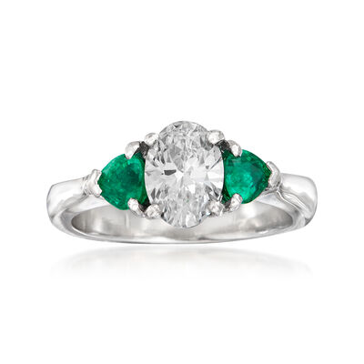 C. 1990 Vintage 1.16 Carat Diamond and .50 ct. t.w. Emerald Ring in 18kt White Gold, , default