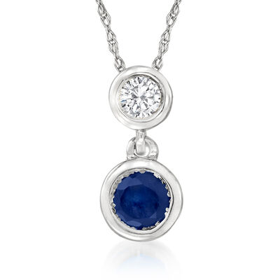 .20 Carat Sapphire and .12 Carat Diamond Pendant Necklace in 14kt White Gold