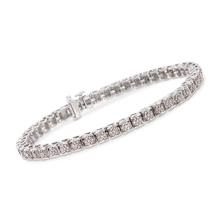 1.00 ct. t.w. Diamond Tennis Bracelet in Sterling Silver, , default