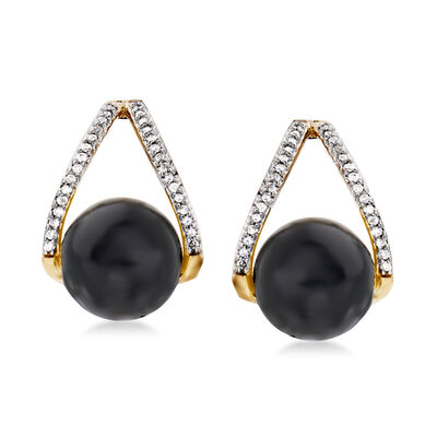 Black Onyx and .12 ct. t.w. Diamond Drop Earrings in 14kt Yellow Gold, , default