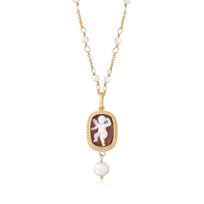 Italian Cultured Pearl Angel Shell Cameo Station Necklace in 18kt Gold Over Sterling, , default